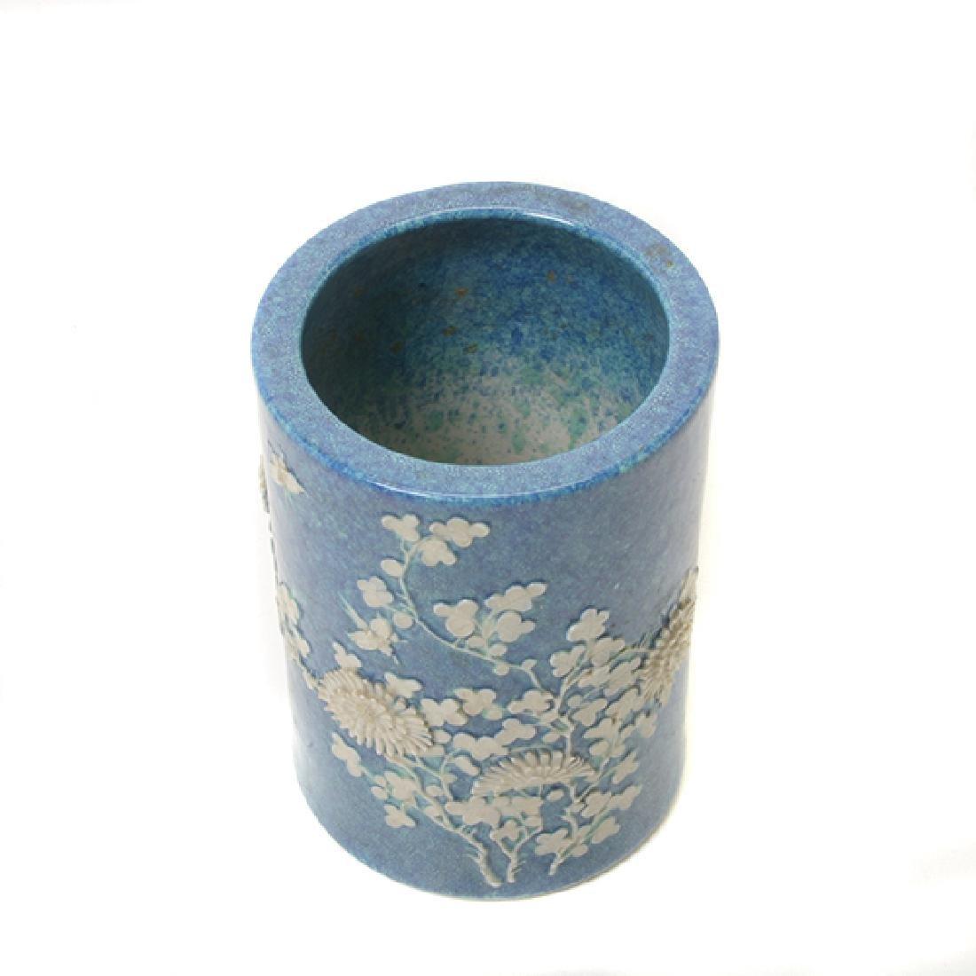Pr of Biscuit Porcelain Brush Pots, L 19th/E 20th C - 3