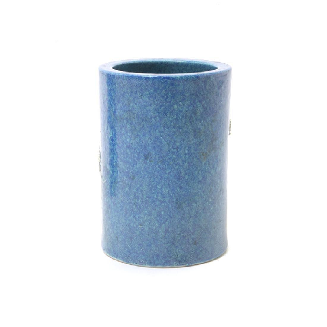 Pr of Biscuit Porcelain Brush Pots, L 19th/E 20th C - 4
