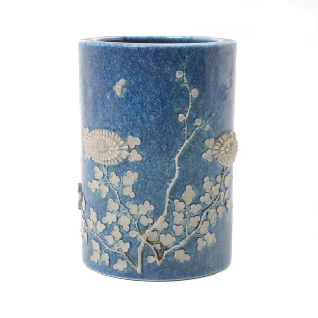 Pr of Biscuit Porcelain Brush Pots, L 19th/E 20th C - 5