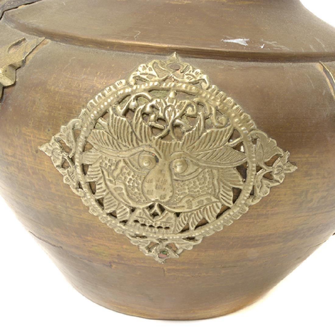 A Tibetan Gilt Copper Ewer - 6