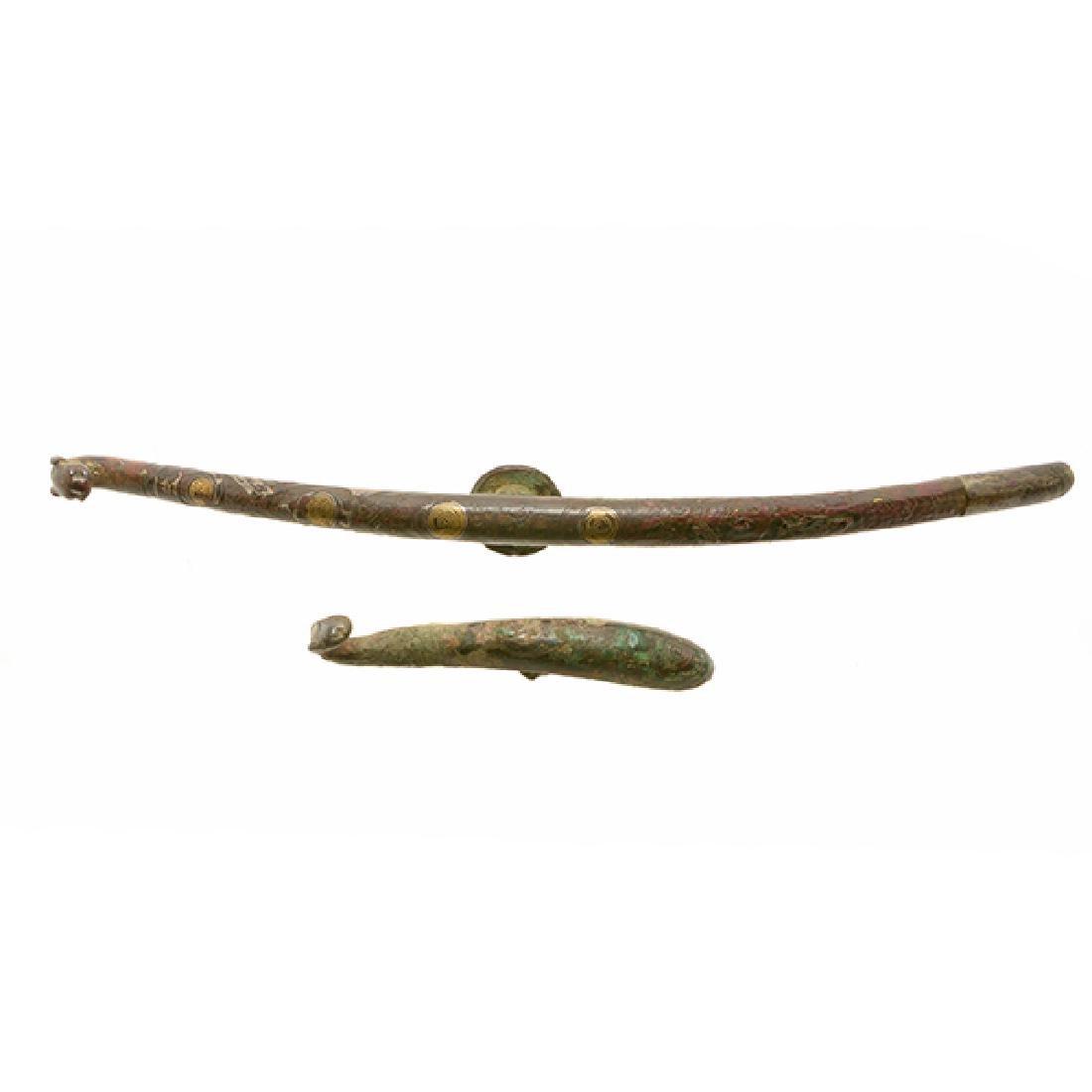 Two Bronze Belt Hooks, Han Dynasty