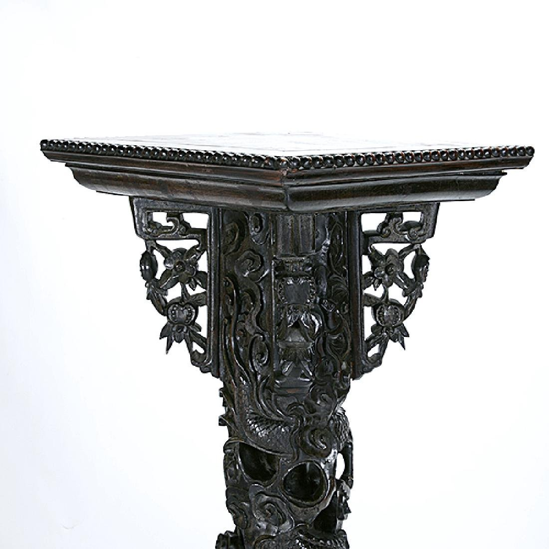 A Chinese Export Carved Wood Dragon Pillar, Circa 1900 - 5