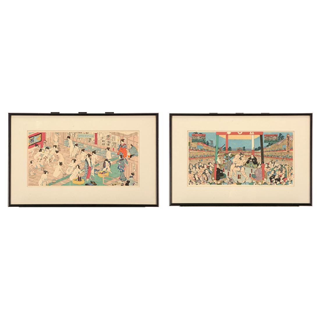 Utagawa Yoshiiku and Toyokuni: Two Woodblocks