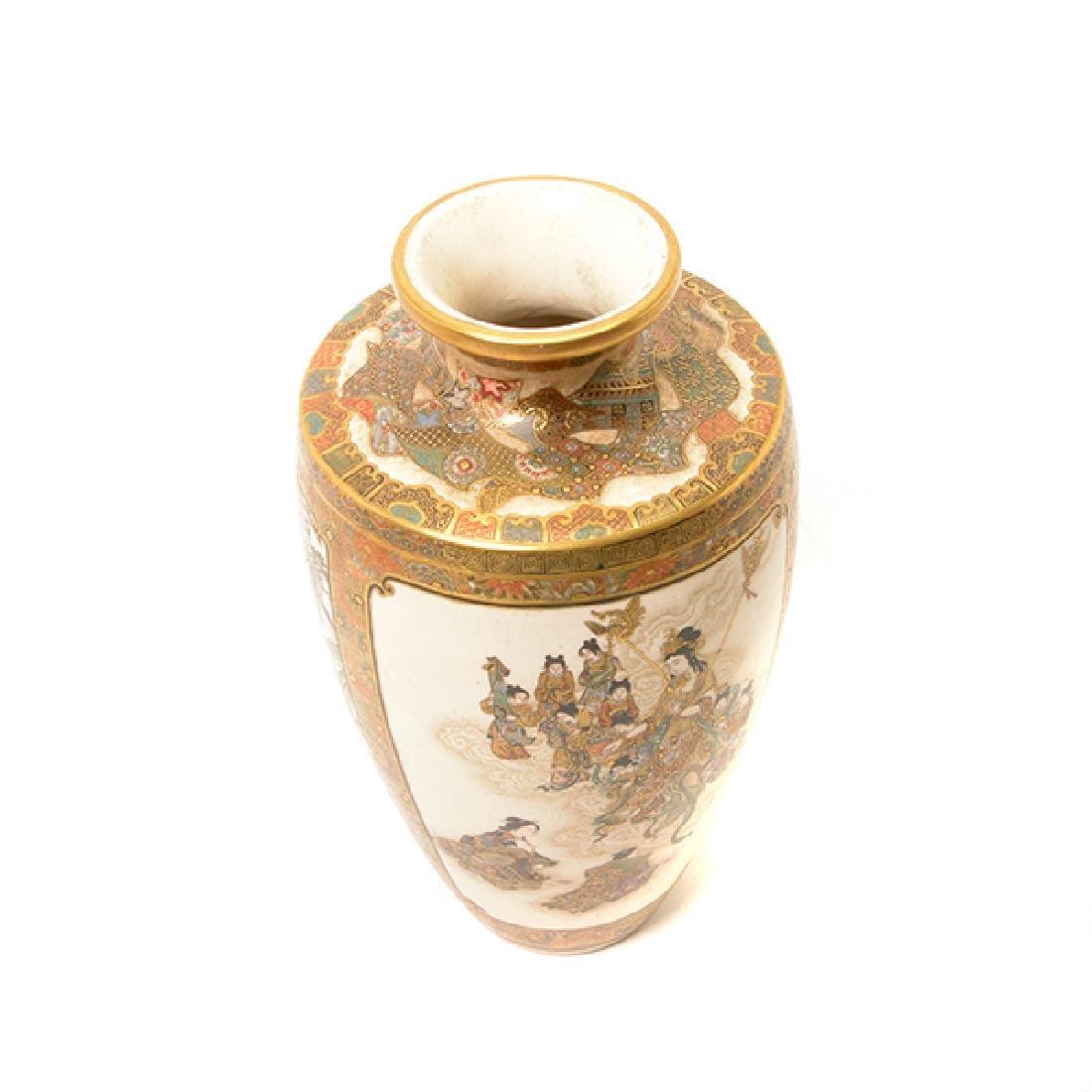 A Pair of Satsuma Vases By Okamoto Ryozan, Meiji Period - 10
