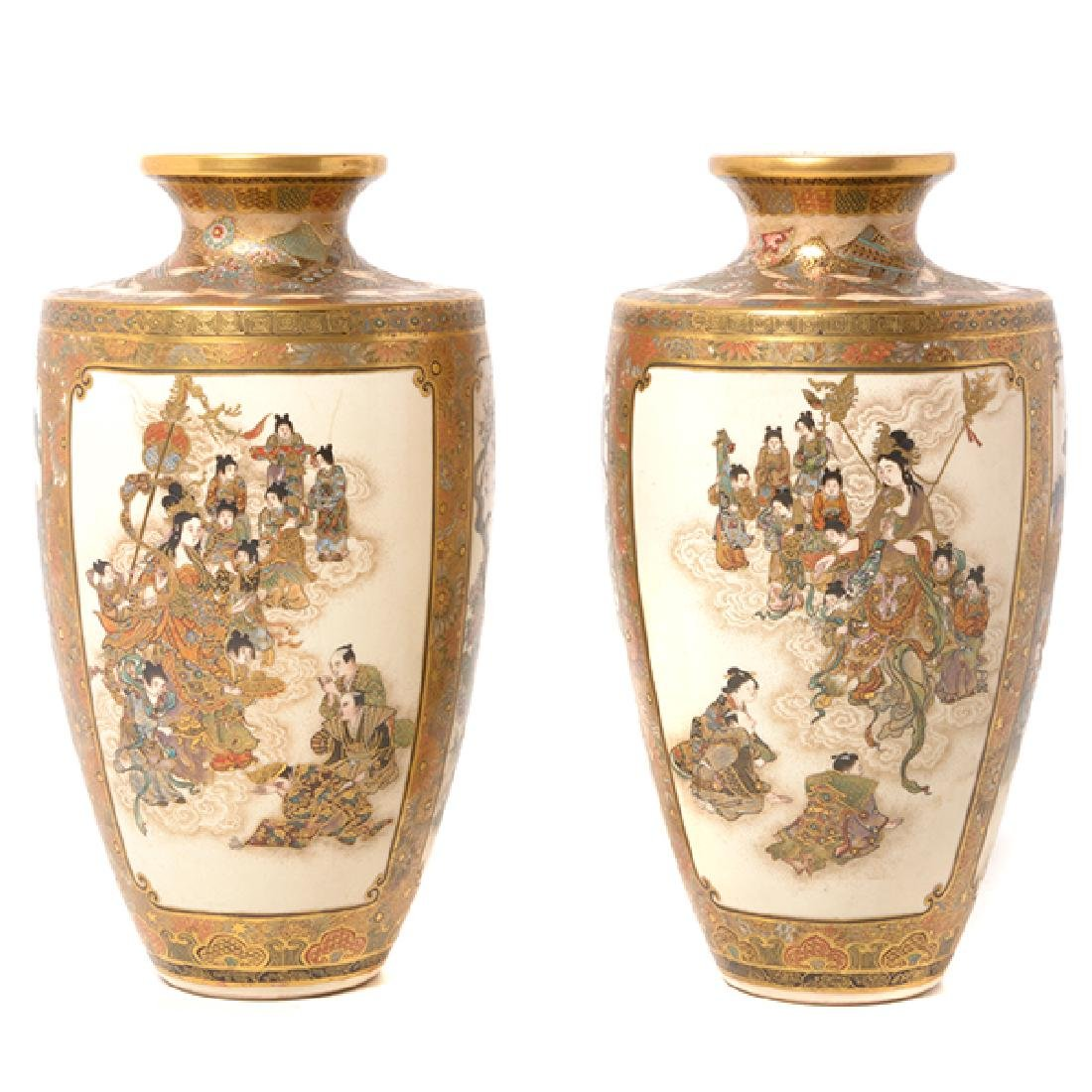 A Pair of Satsuma Vases By Okamoto Ryozan, Meiji Period