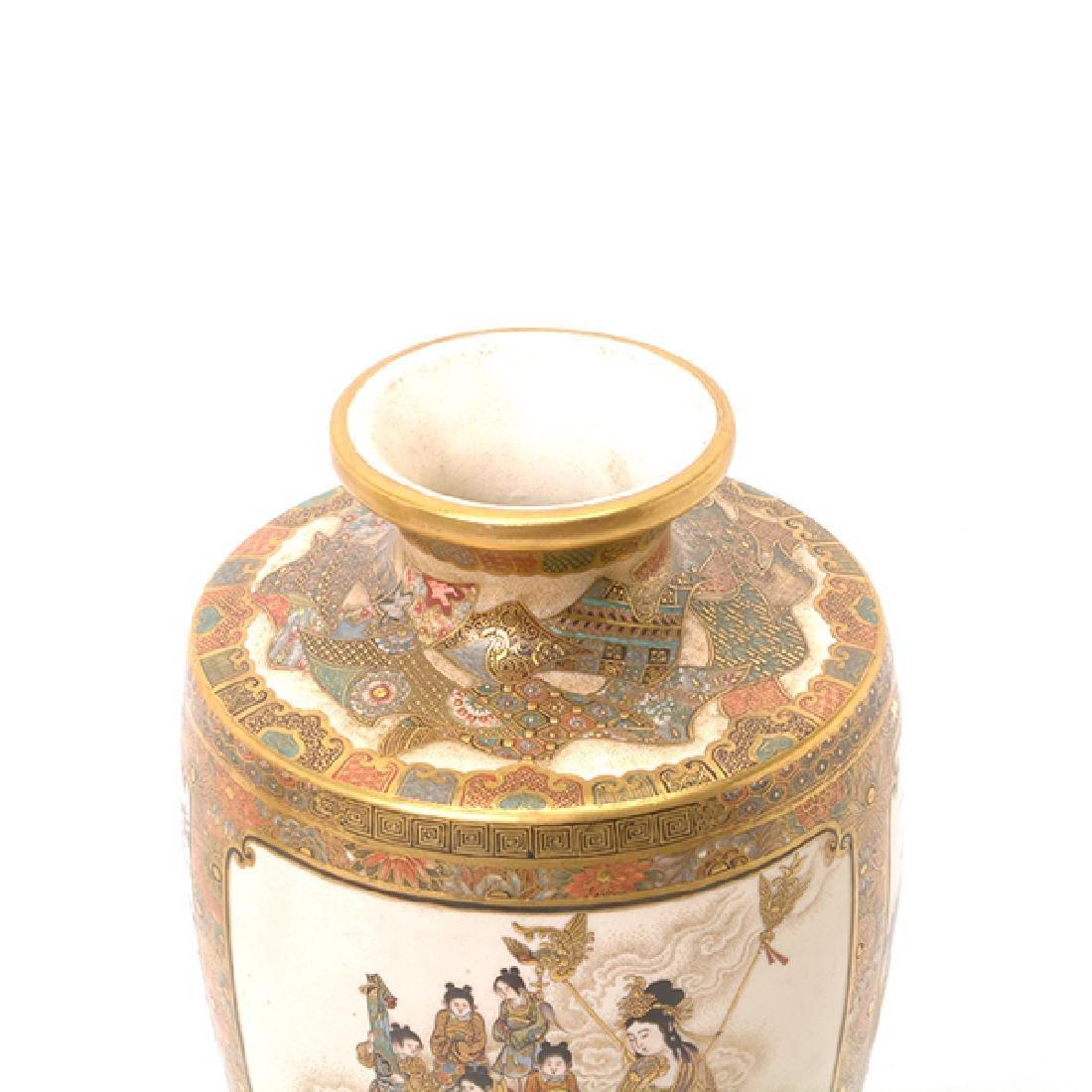 A Pair of Satsuma Vases By Okamoto Ryozan, Meiji Period - 2