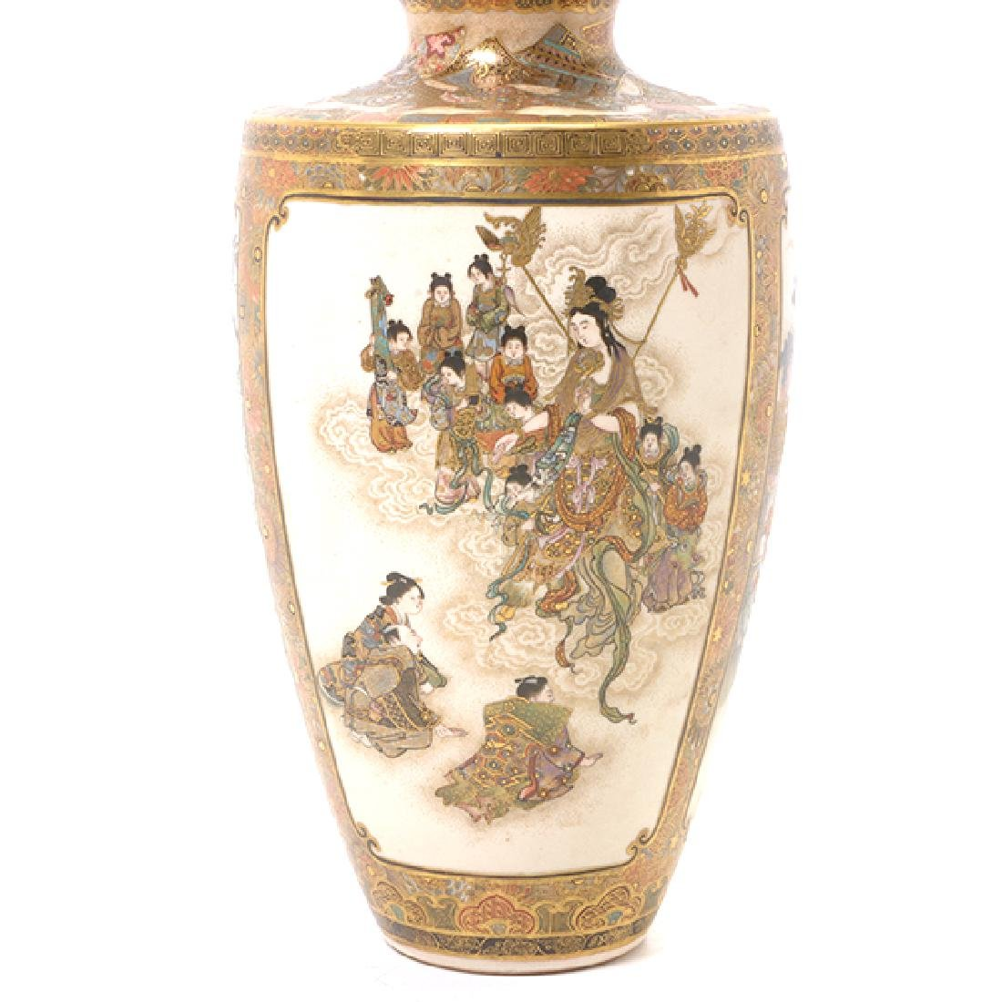 A Pair of Satsuma Vases By Okamoto Ryozan, Meiji Period - 3