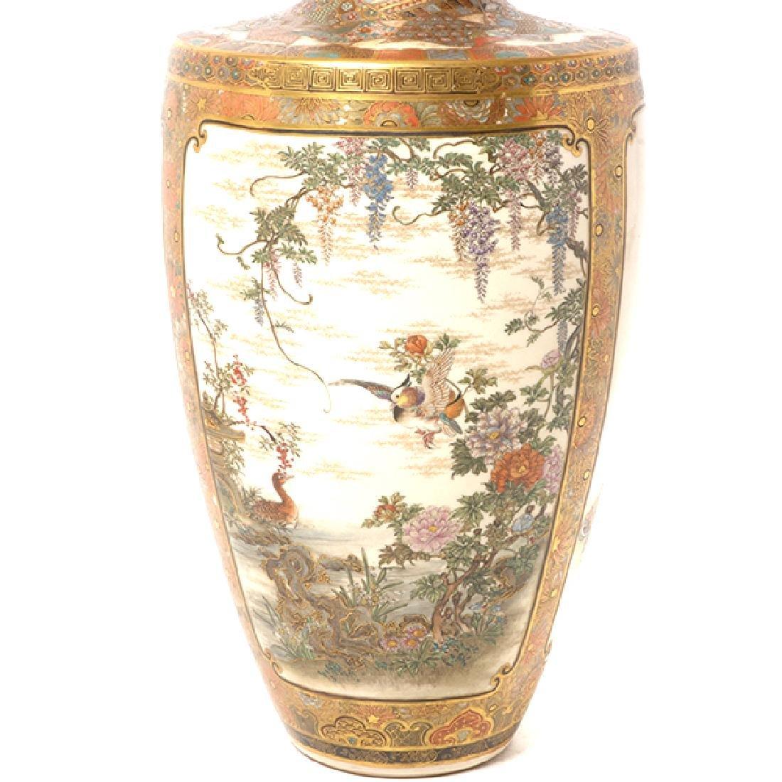A Pair of Satsuma Vases By Okamoto Ryozan, Meiji Period - 5