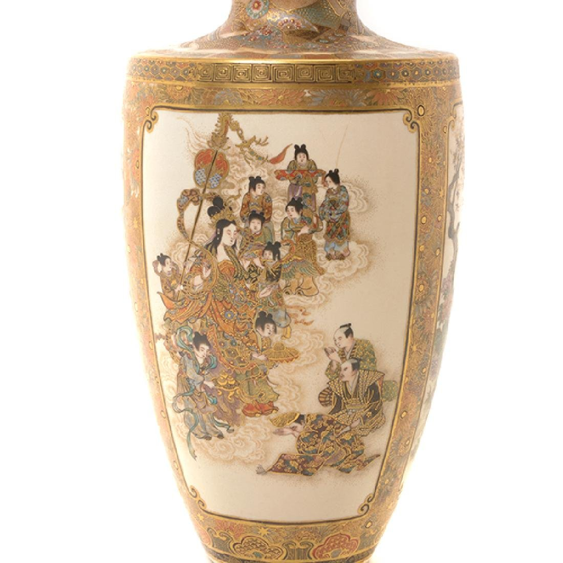 A Pair of Satsuma Vases By Okamoto Ryozan, Meiji Period - 6