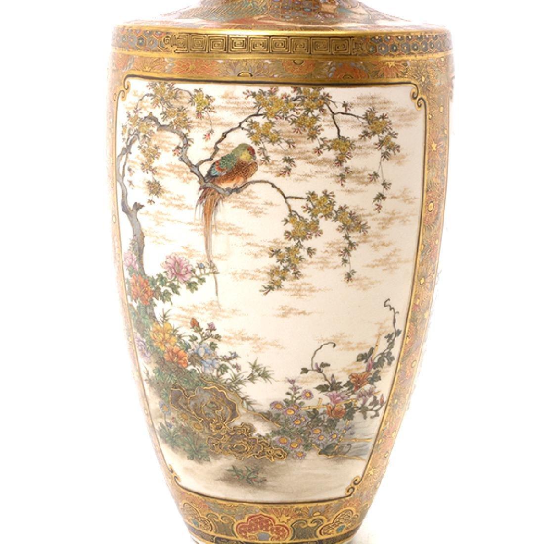 A Pair of Satsuma Vases By Okamoto Ryozan, Meiji Period - 7