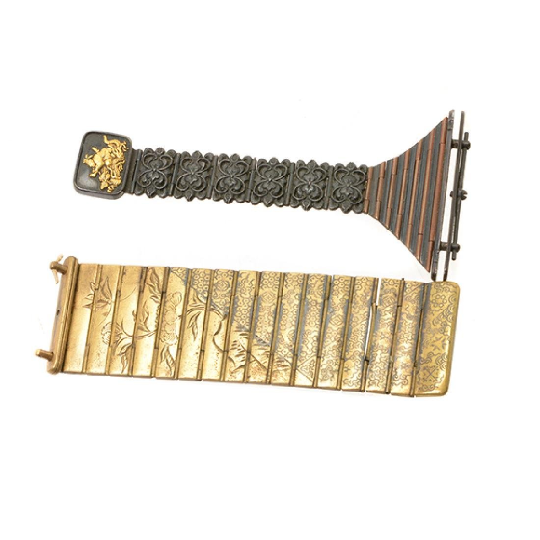 Two Metal Netsuke Applique Chains, Meiji Period