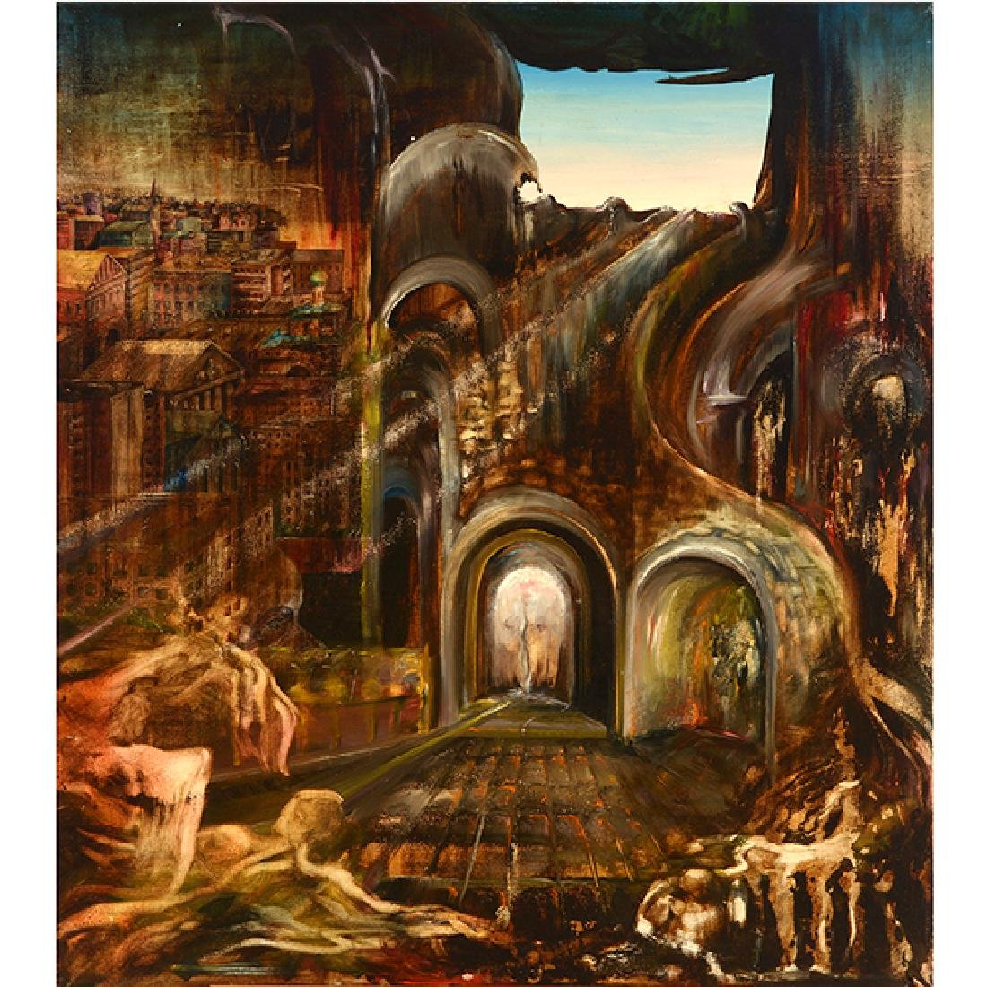 "Russian School ""Surrealist Landscape"" oil on canvas"