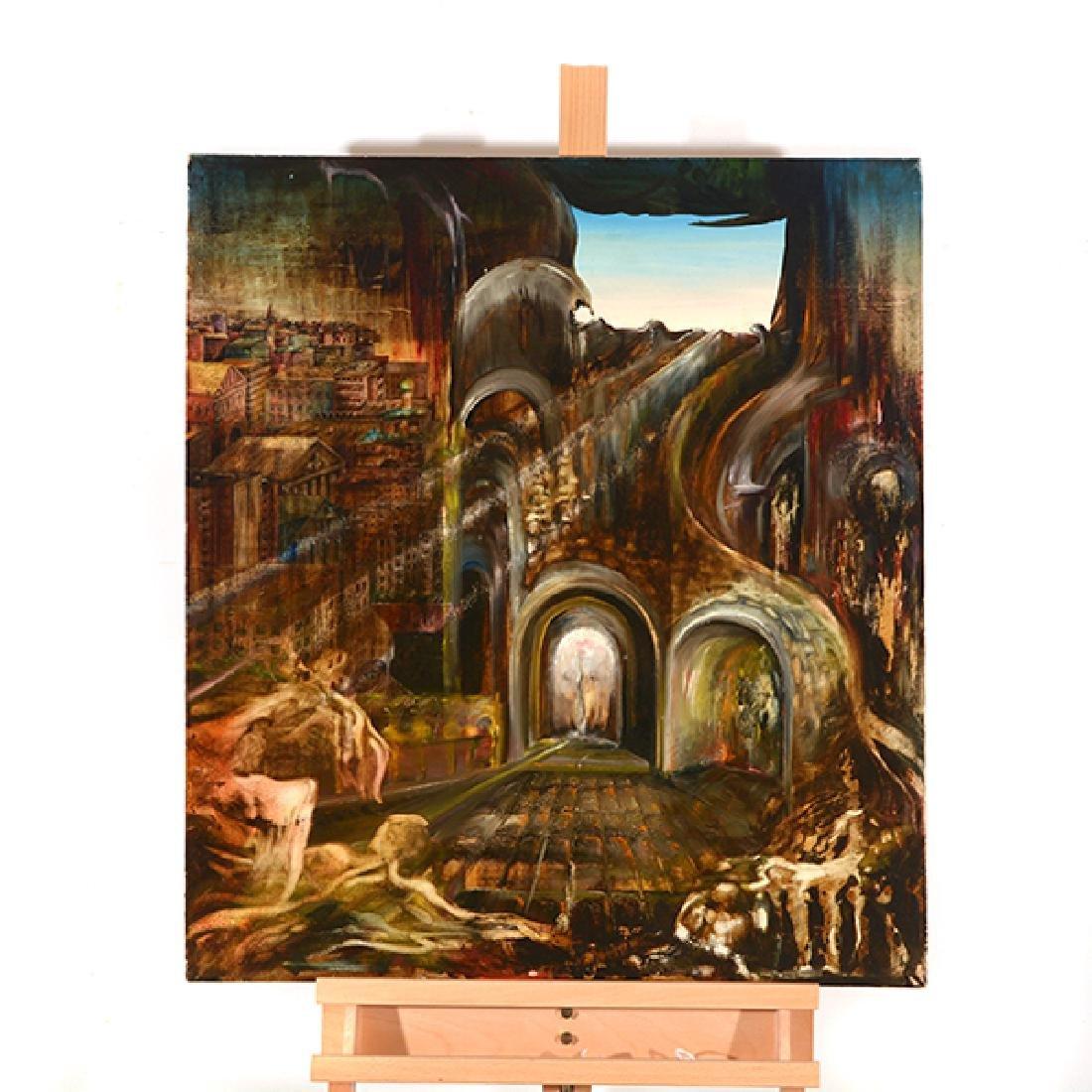 "Russian School ""Surrealist Landscape"" oil on canvas - 7"