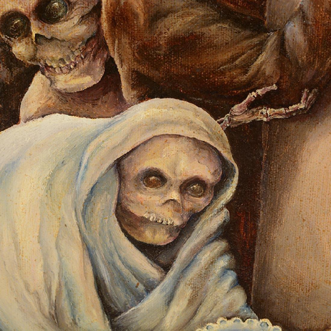 "Russian School ""Adoption"" oil on canvas - 3"