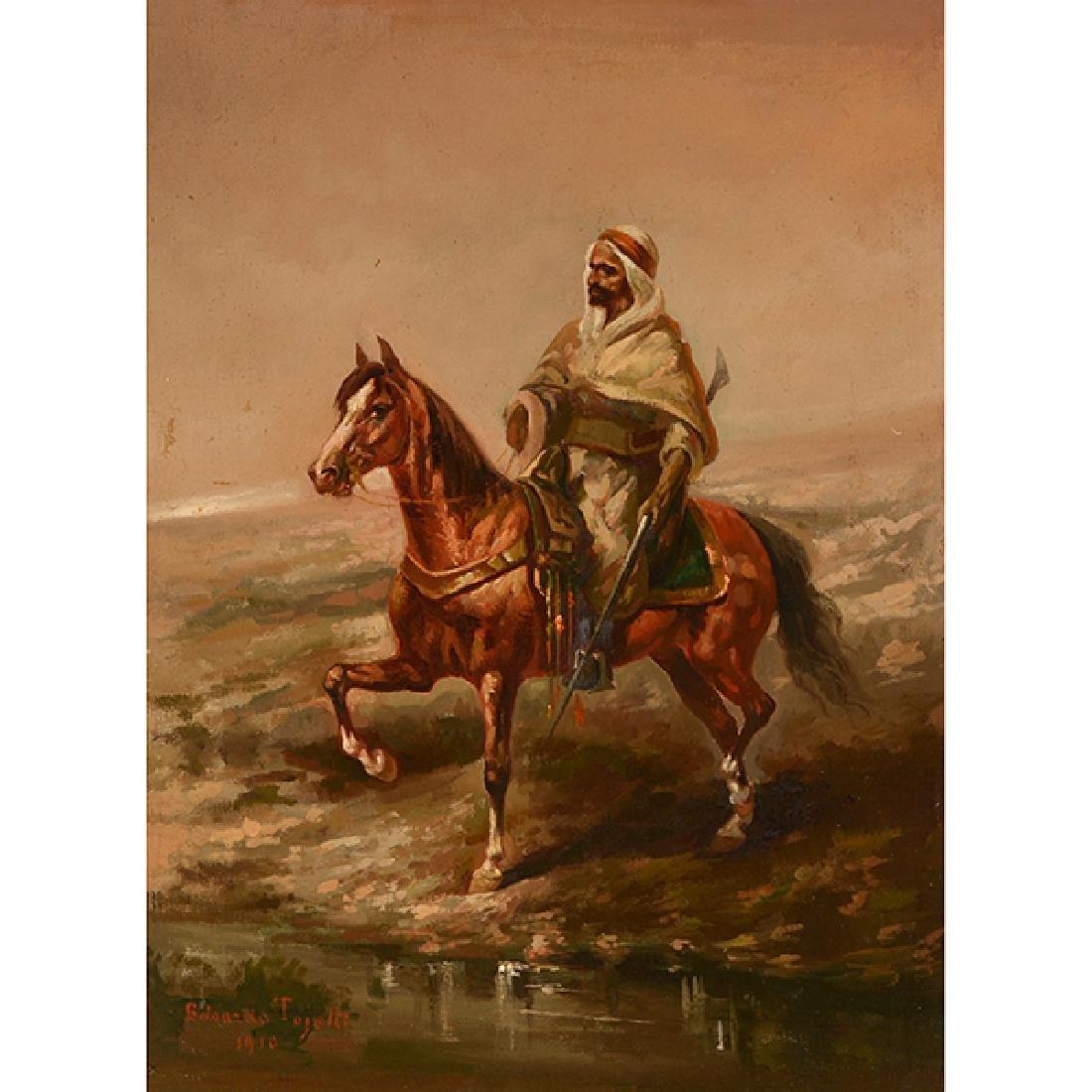 "Eduardo Tojetti ""Arab on a Horse"" oil on board"