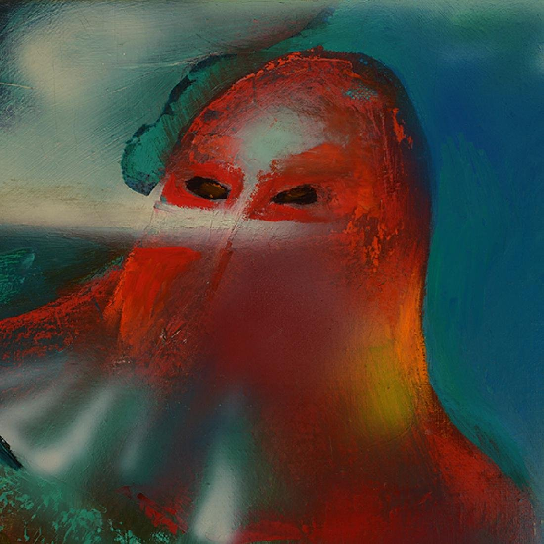 """Russian School """"Surrealist Hooded Figure with Chickens"""" - 3"""