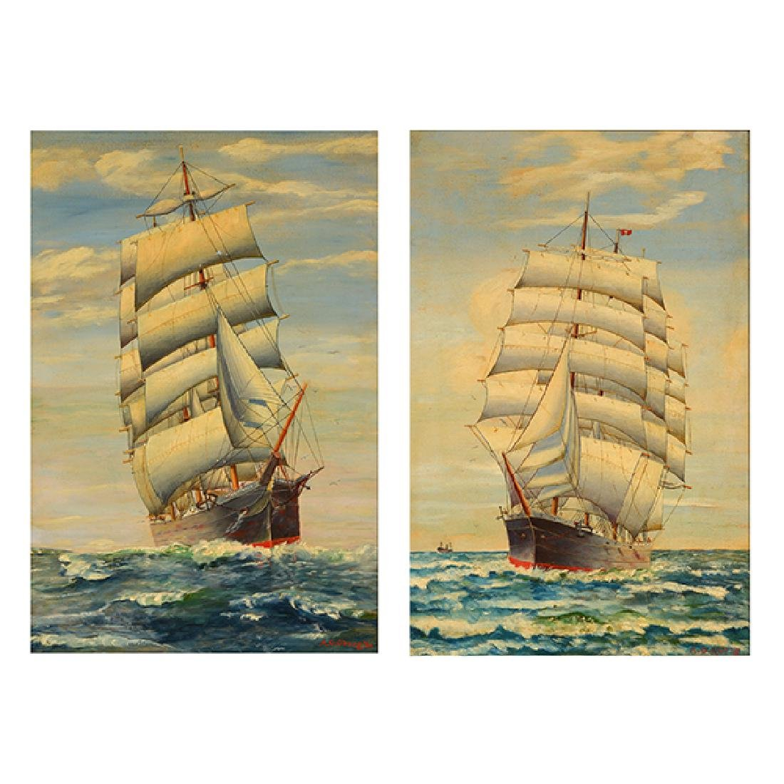 "Attrib. to Alfred Gabali ""Ship on the Rolling Sea"" and"