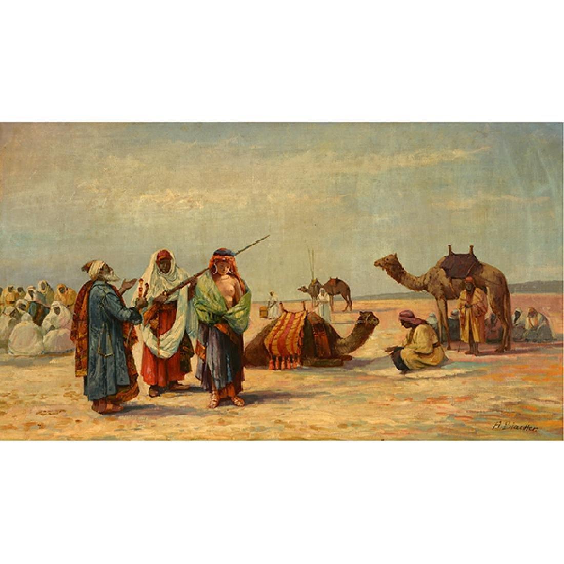 "French-Orientalist School ""Desert Scene with Figures"