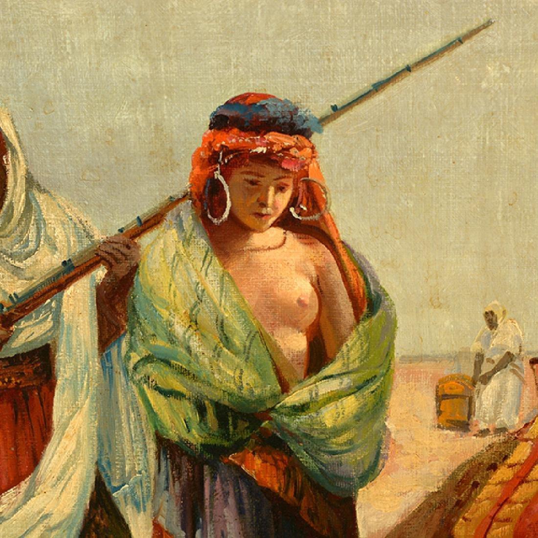 "French-Orientalist School ""Desert Scene with Figures - 3"