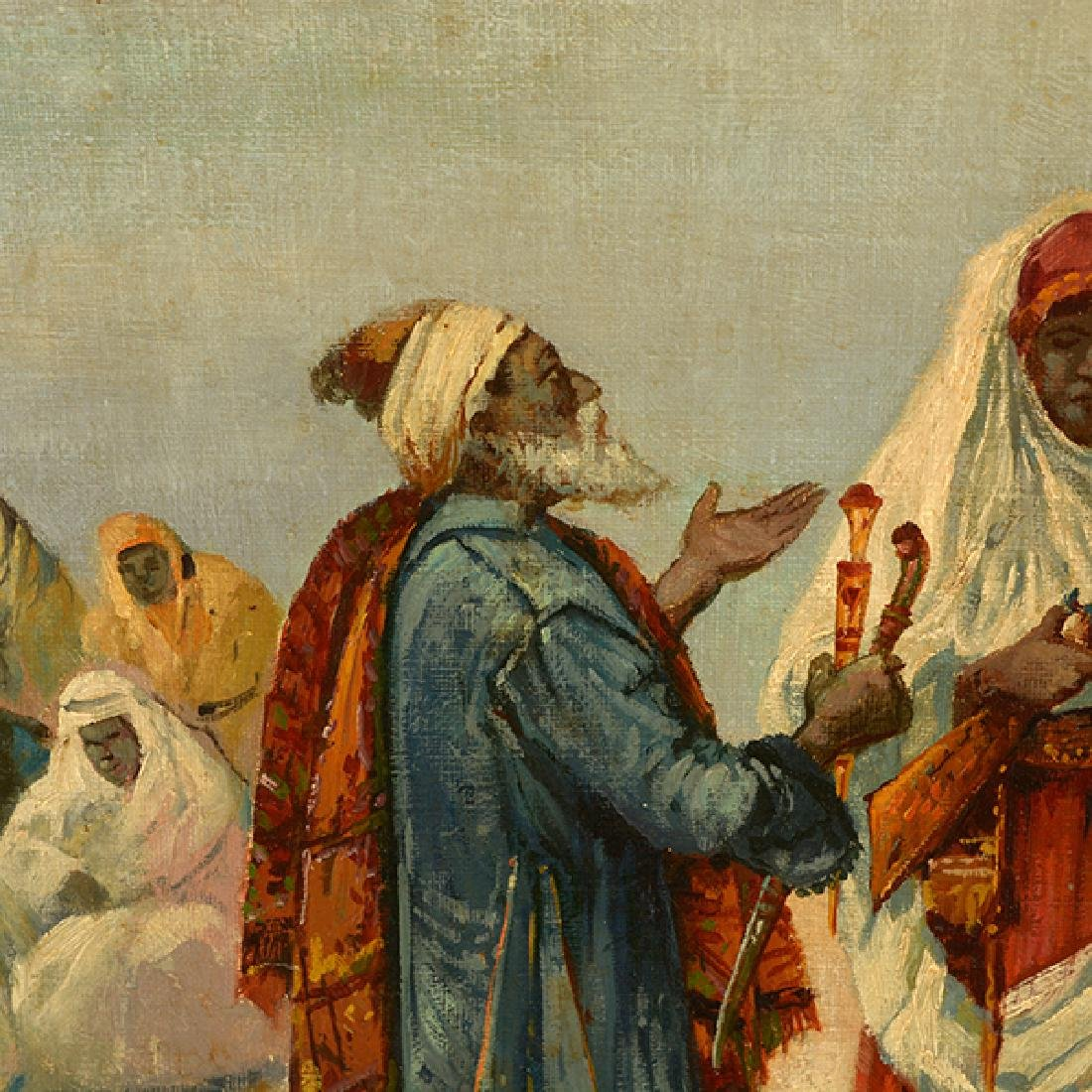 "French-Orientalist School ""Desert Scene with Figures - 4"