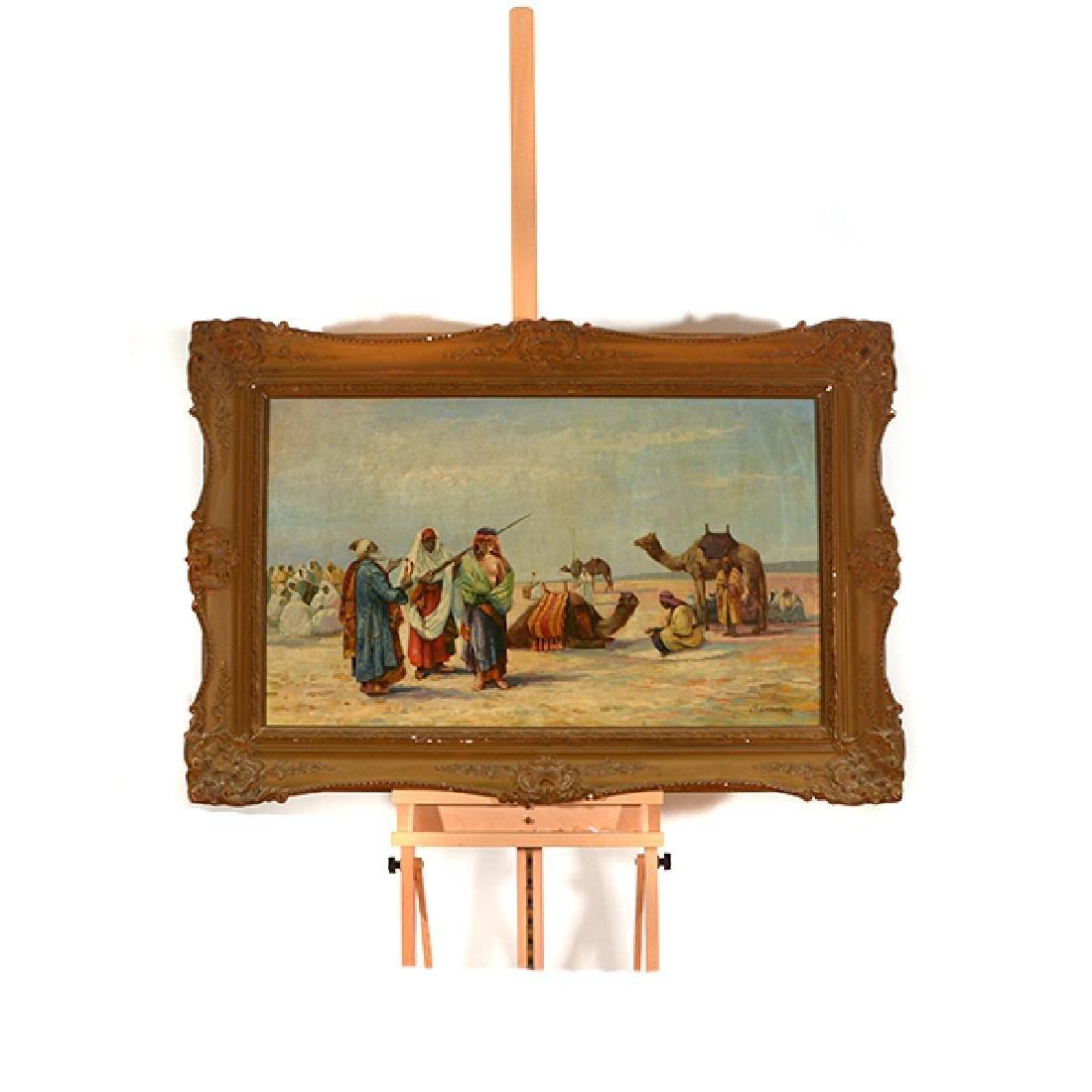 "French-Orientalist School ""Desert Scene with Figures - 8"
