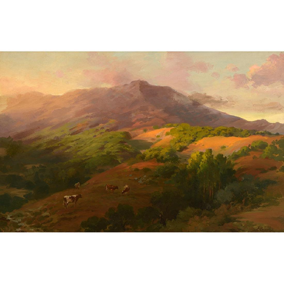 """Hector Ettore Serbaroli """"Mt. Tamalpais"""" oil on canvas"""
