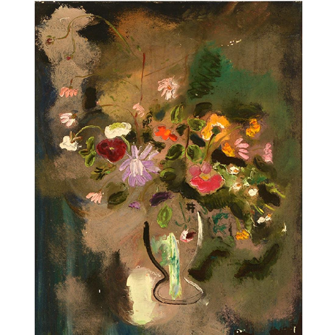 "Sterling Strauser ""Goblet of Flowers"" oil on board"