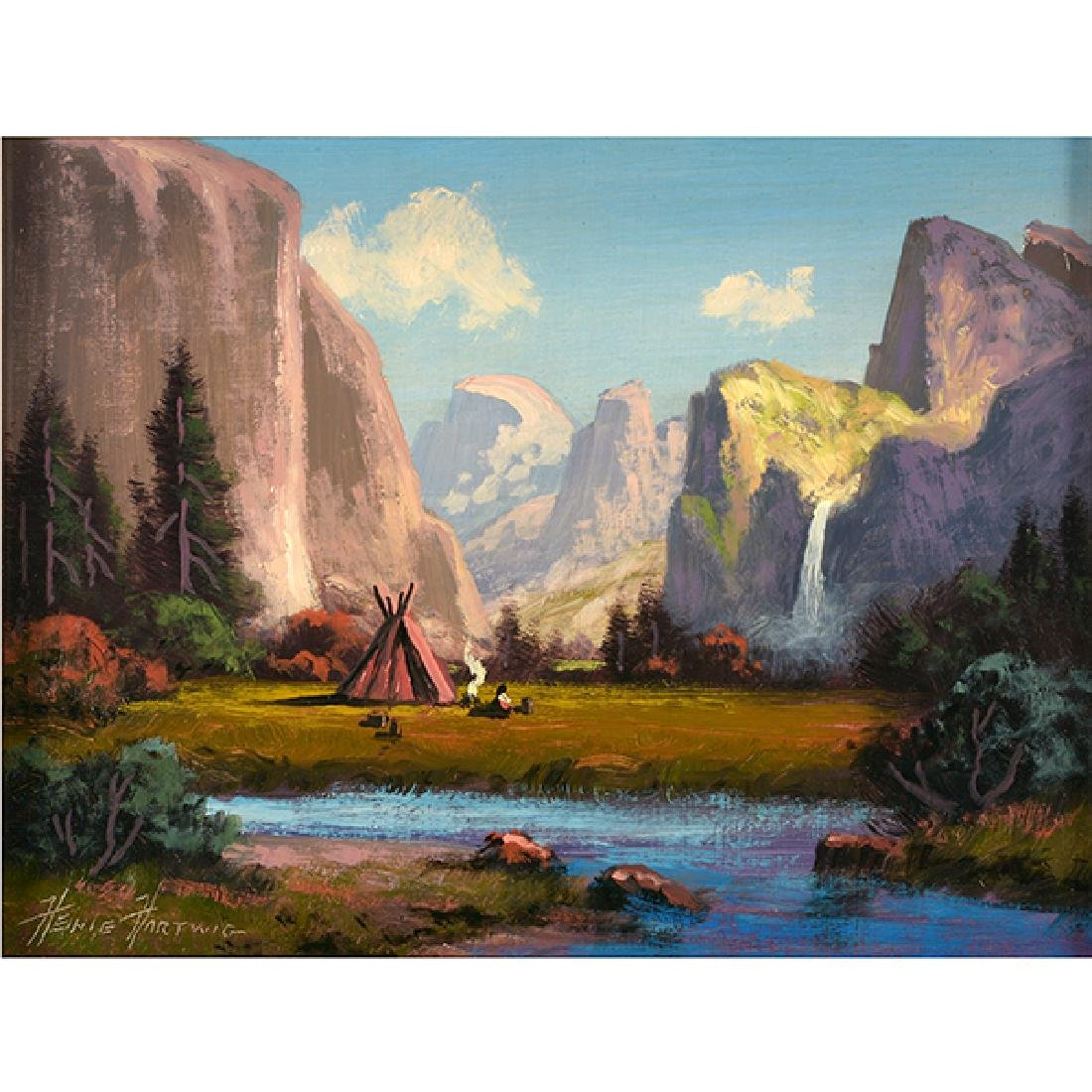 "Heinie Hartwig ""Yosemite Valley"" oil on masonite"