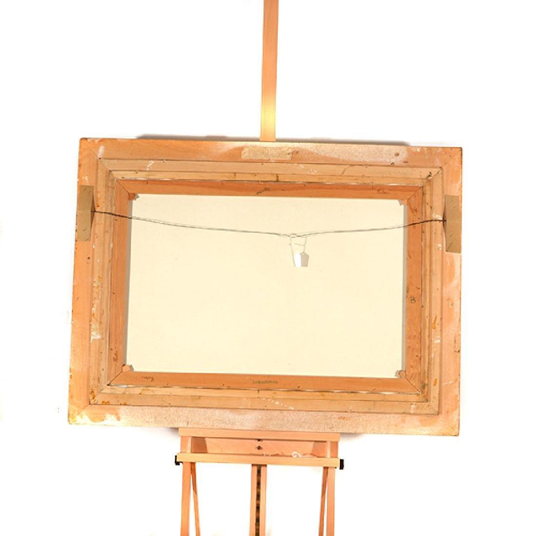 "E J Cygne ""Strolling along the river"" oil on canvas - 10"