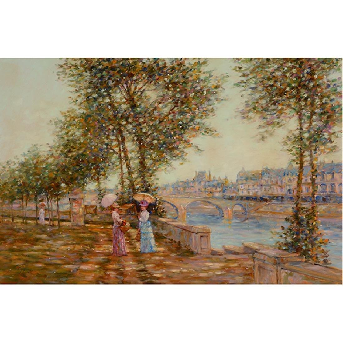 "E J Cygne ""Strolling along the river"" oil on canvas"