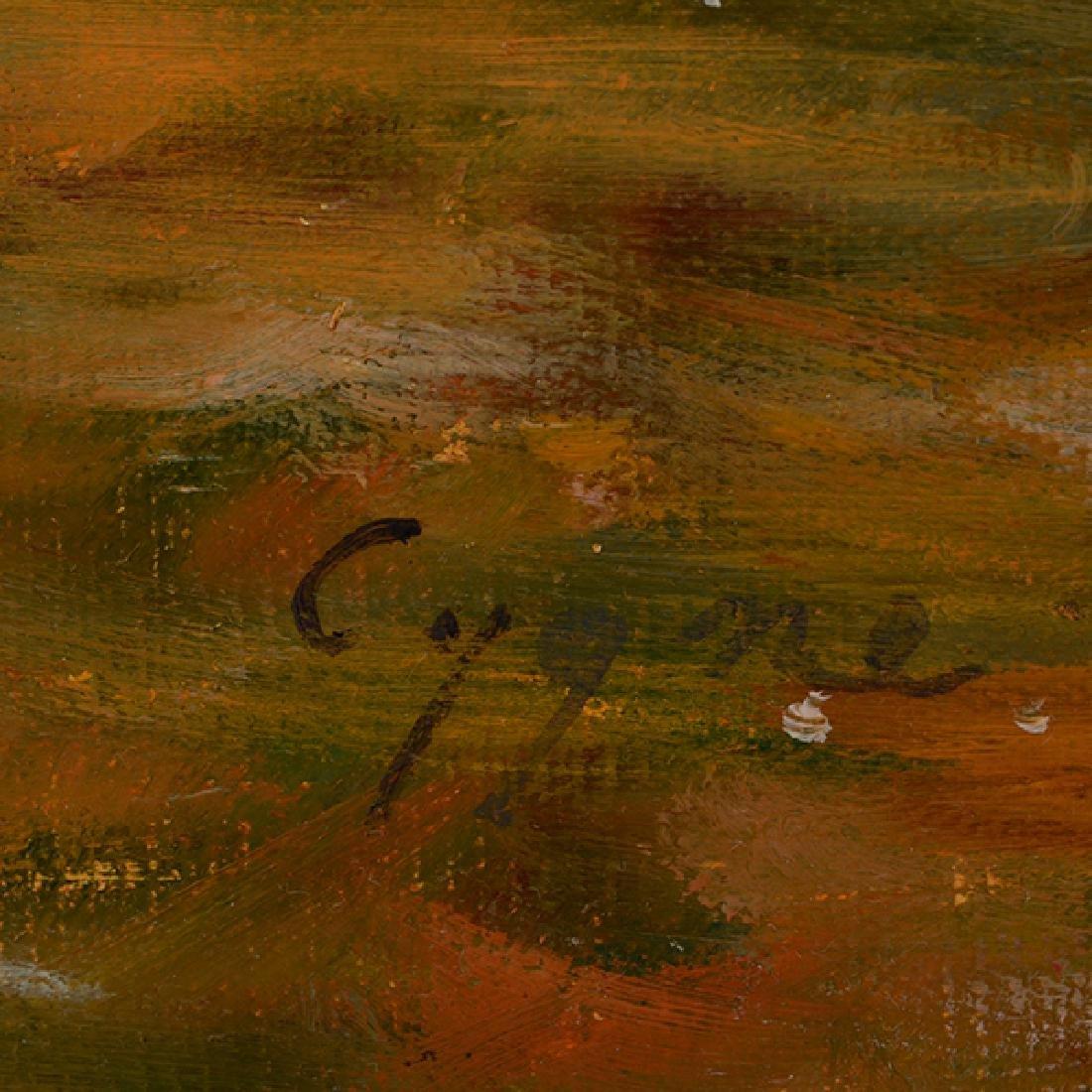 "E J Cygne ""Strolling along the river"" oil on canvas - 2"