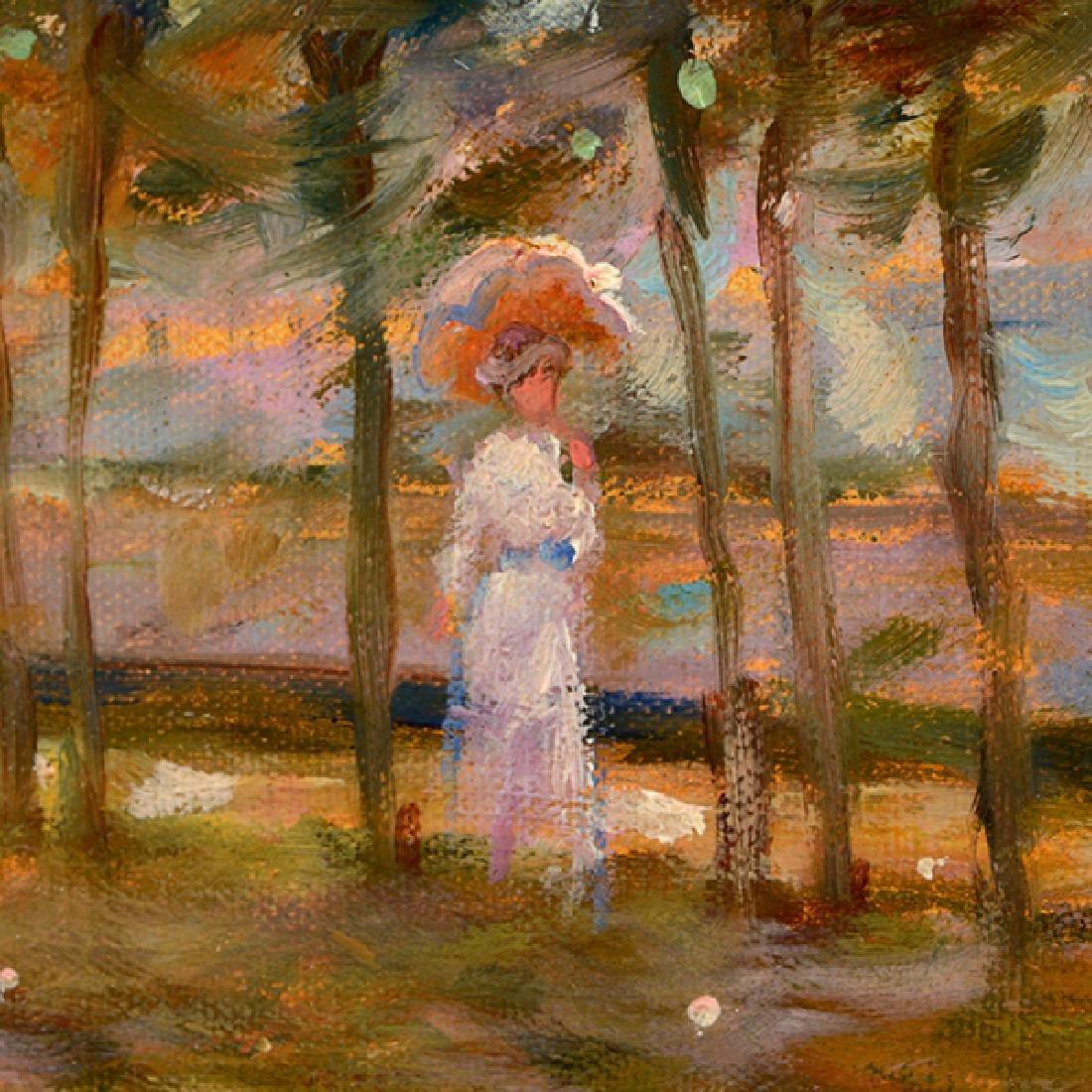 "E J Cygne ""Strolling along the river"" oil on canvas - 3"