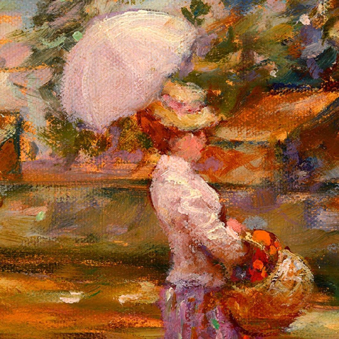 "E J Cygne ""Strolling along the river"" oil on canvas - 5"