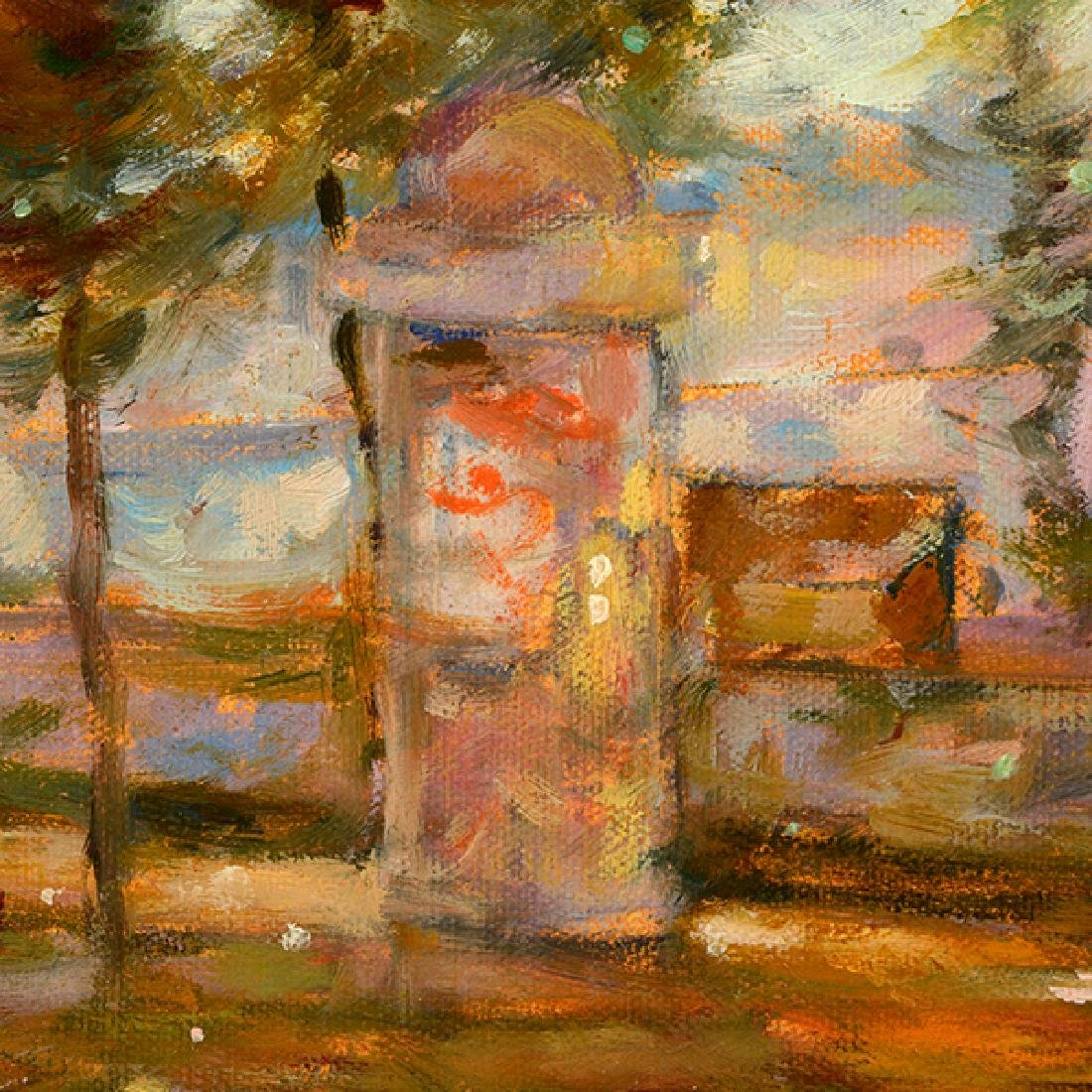 "E J Cygne ""Strolling along the river"" oil on canvas - 6"