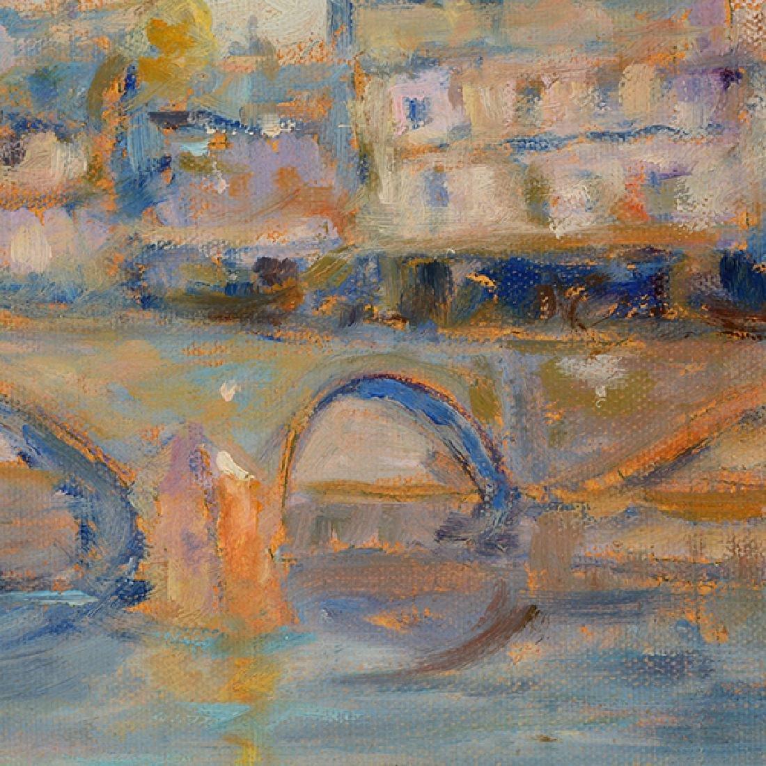 "E J Cygne ""Strolling along the river"" oil on canvas - 7"