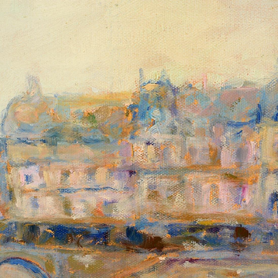 "E J Cygne ""Strolling along the river"" oil on canvas - 8"