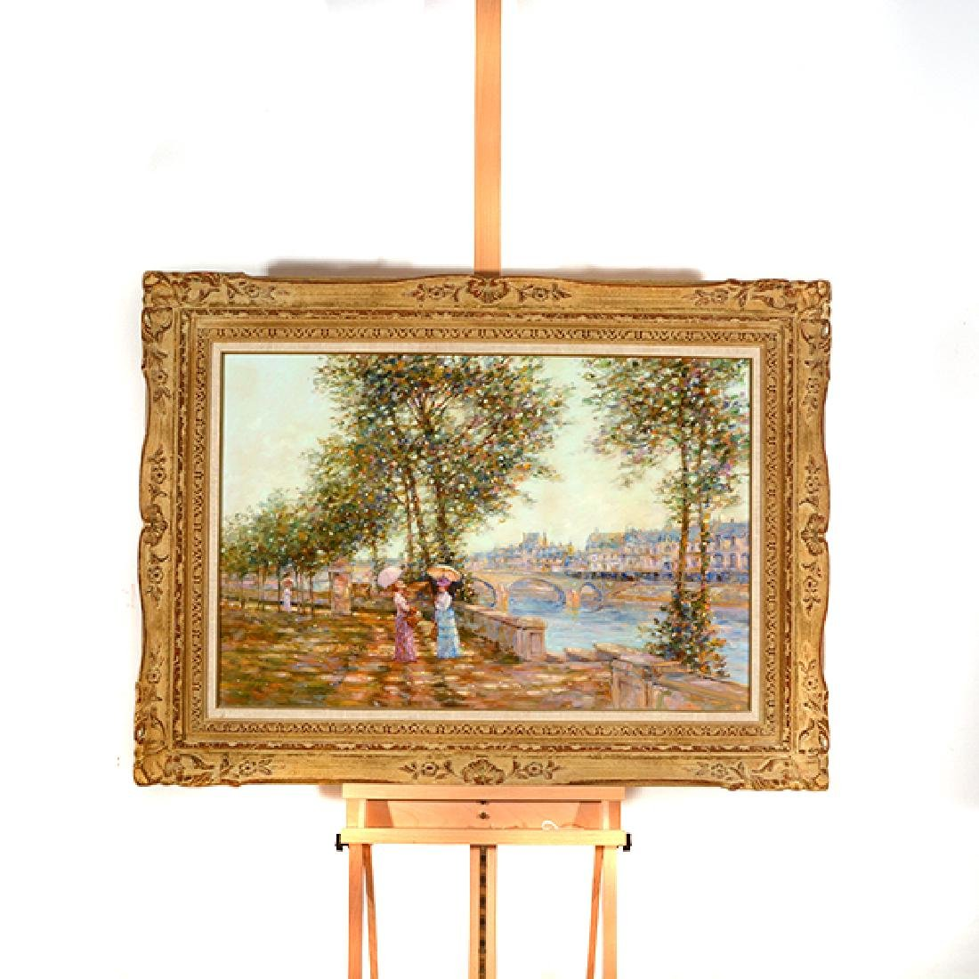 "E J Cygne ""Strolling along the river"" oil on canvas - 9"