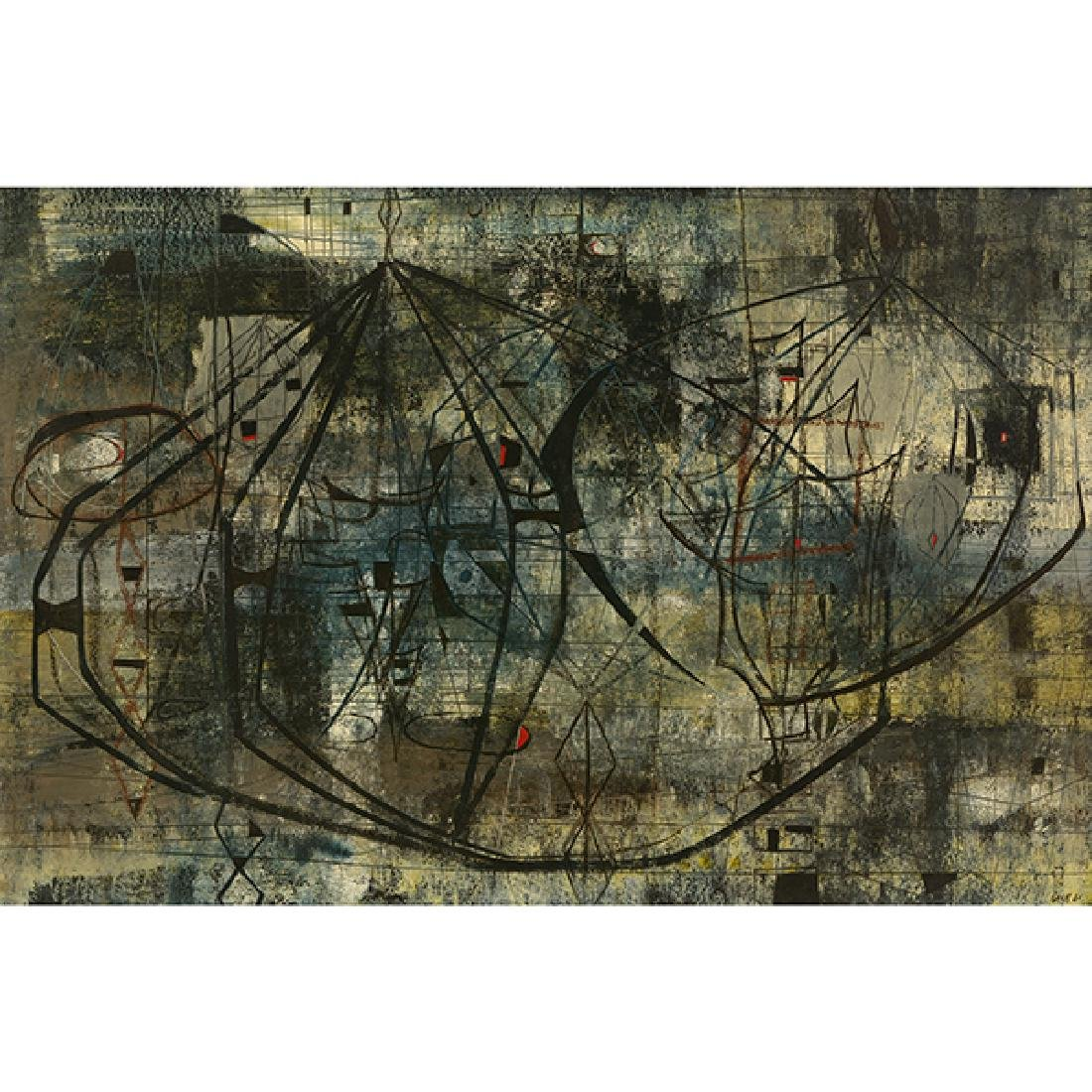 "Kenneth Nack ""Untitled Abstract in Black"" mixed media"