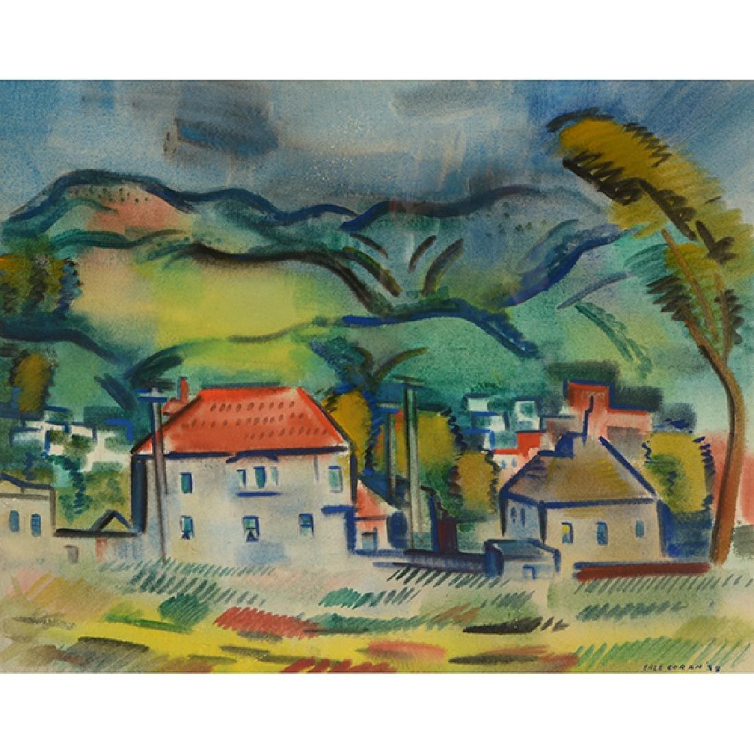 "Erle Loran ""Hills of Berkeley"" watercolor"