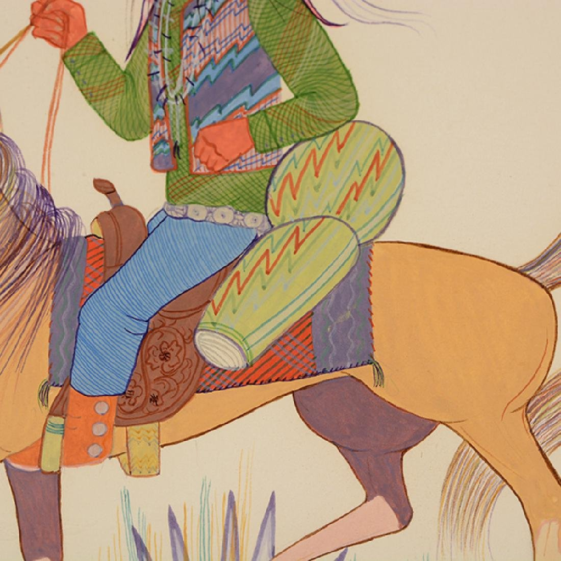 """Andy Tsinajinnie """"Male Indian on Brown Horse"""" and - 10"""