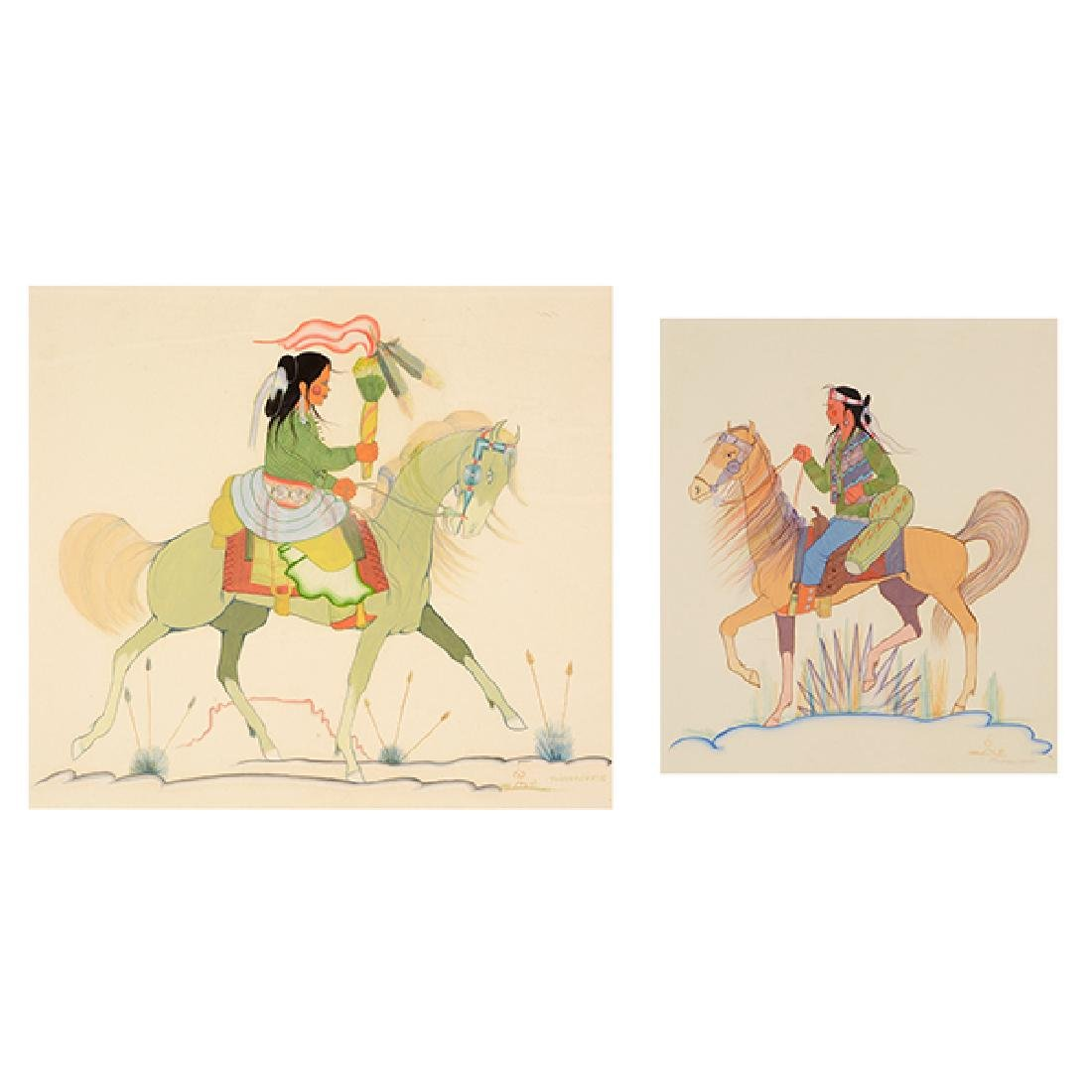 """Andy Tsinajinnie """"Male Indian on Brown Horse"""" and"""