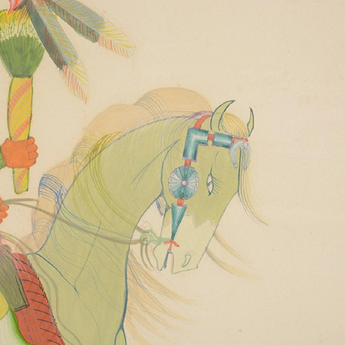 """Andy Tsinajinnie """"Male Indian on Brown Horse"""" and - 4"""