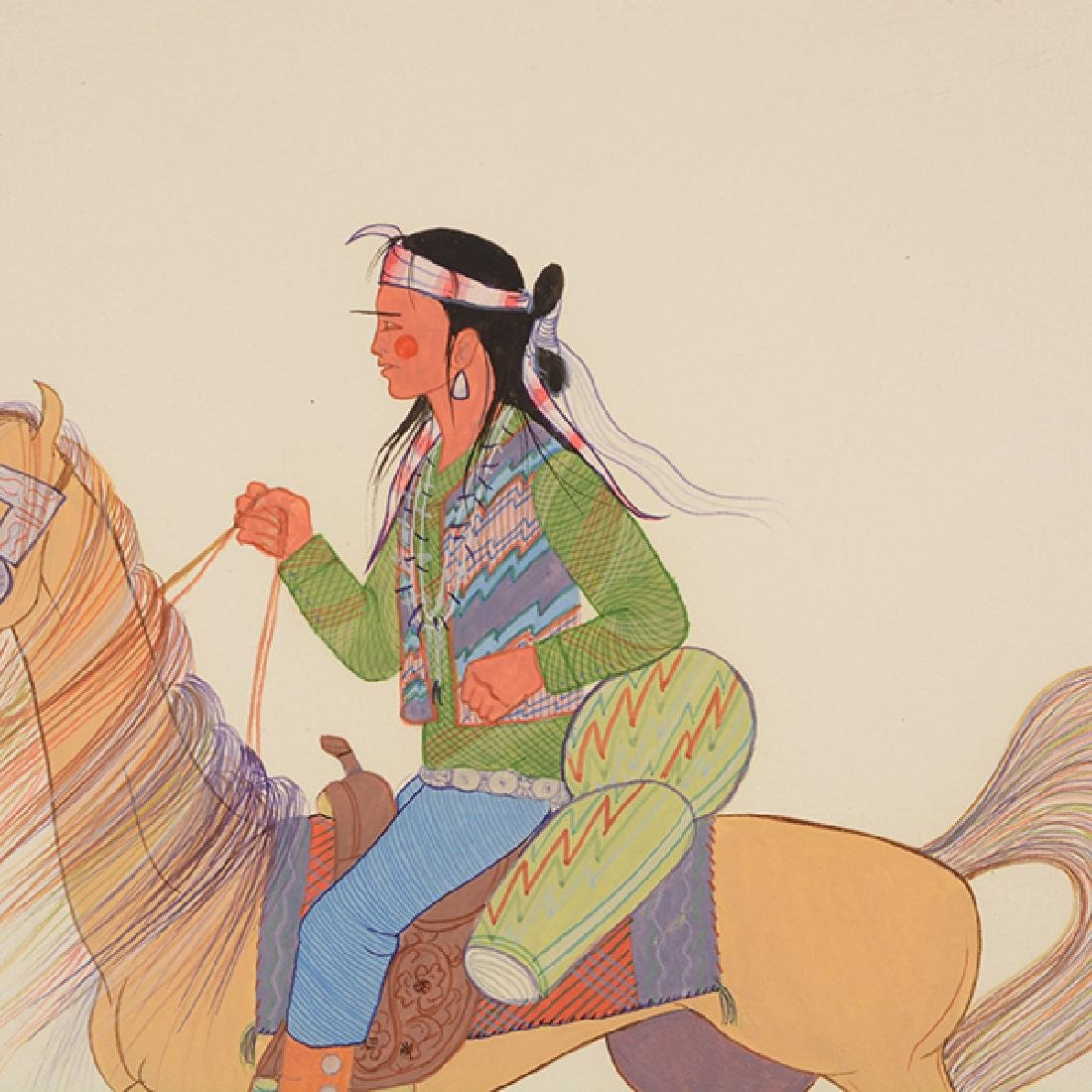 """Andy Tsinajinnie """"Male Indian on Brown Horse"""" and - 8"""