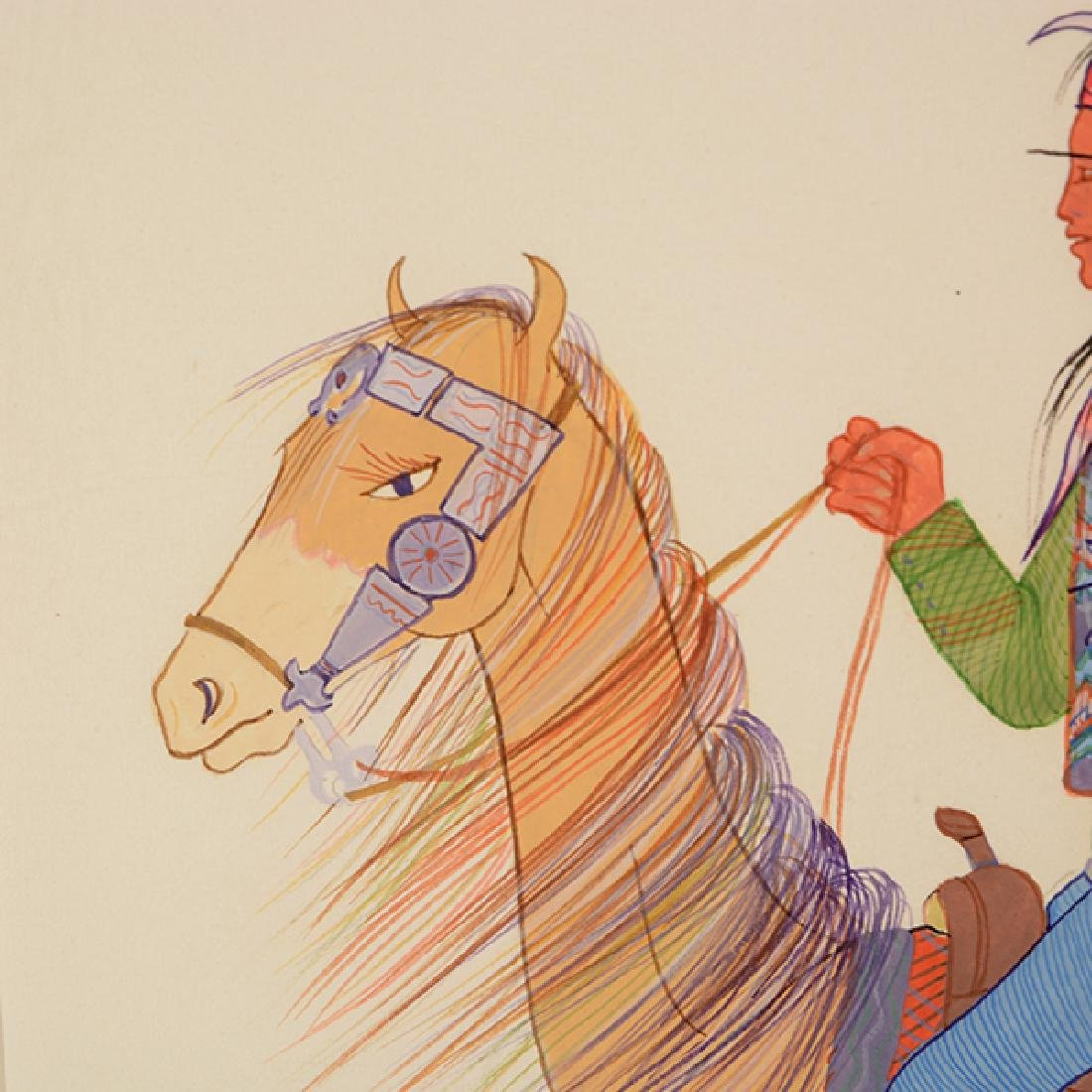 """Andy Tsinajinnie """"Male Indian on Brown Horse"""" and - 9"""
