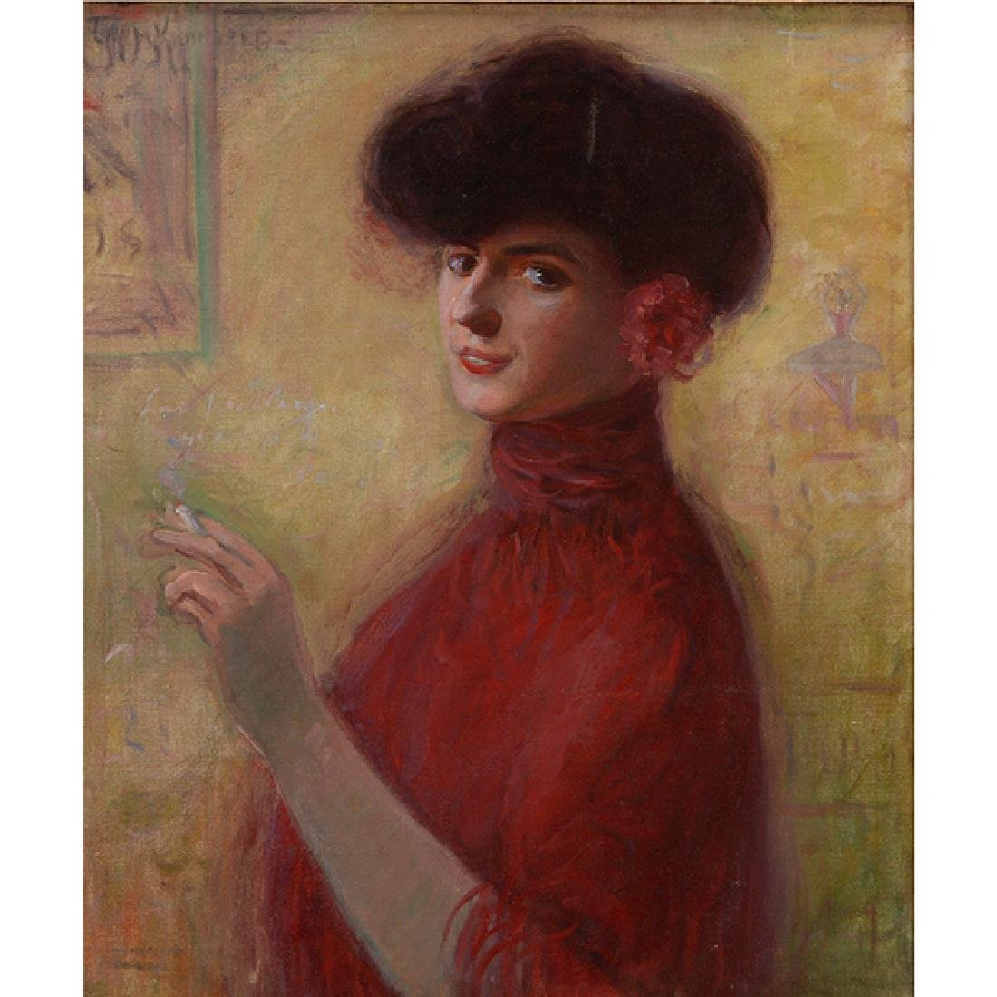 "Louis Kronberg ""Woman with a Cigarette"" oil on canvas"
