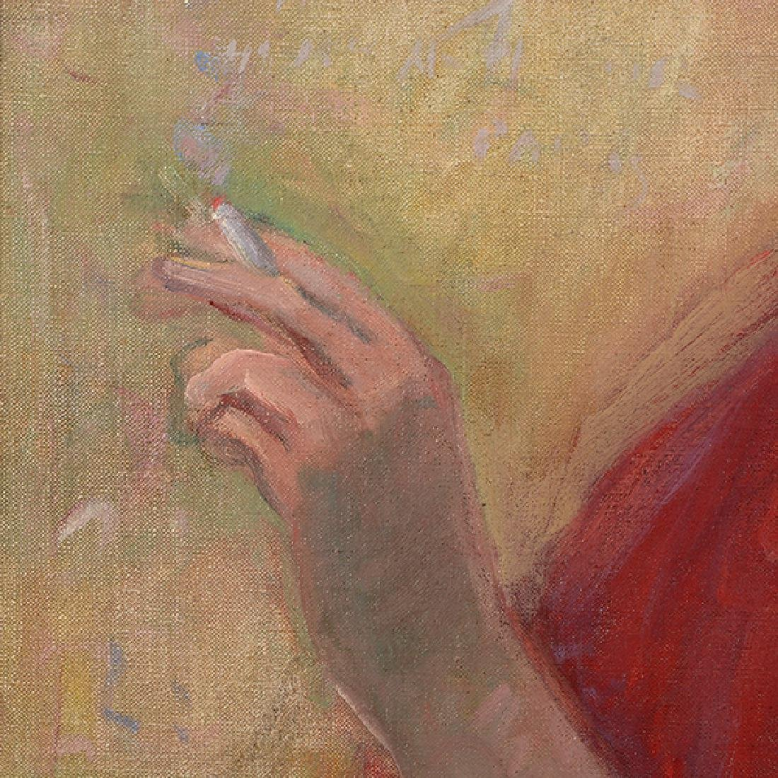"Louis Kronberg ""Woman with a Cigarette"" oil on canvas - 5"