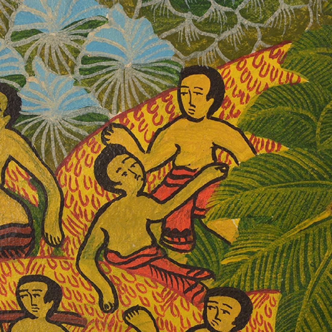 "Balinese School ""Working the Fields"" watercolor on - 4"
