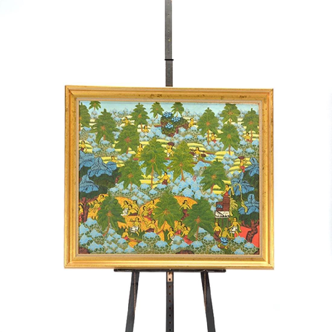 "Balinese School ""Working the Fields"" watercolor on - 6"