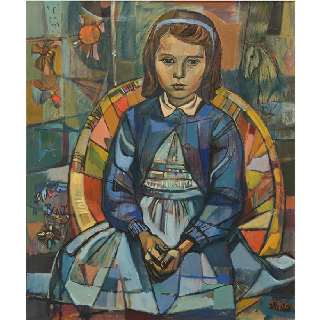"""Irving Amen """"Portrait of a Girl"""" oil on canvas"""