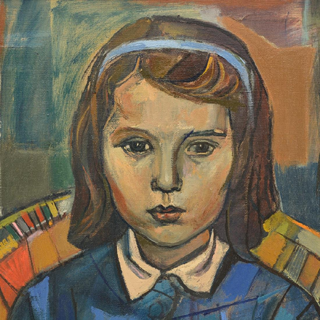 """Irving Amen """"Portrait of a Girl"""" oil on canvas - 3"""